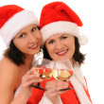 Two woman santa — Stock Photo