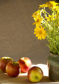 Still Life with apples and wild daisy bouquet — Stock Photo