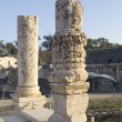 Ancient pillars of ruined roman temple in Beit Shean (Scythopoli - Stock Photo
