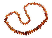 Amber necklace, isolated — Stock Photo