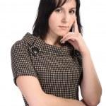 девушка в черном платье, изолированные — Стоковое фото