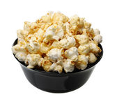 Popcorn in a black cup, isolated — Stock Photo