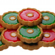 Cookies with red and green jelly, isolated - 图库照片