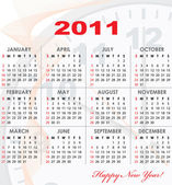 Calendar grid of 2011 year — Stock Vector