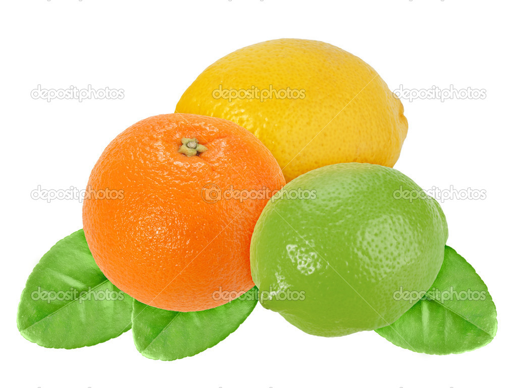 Fruits Of Orange Lemon And Lime With Green Leaf Stock