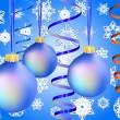 Three blue christmas-balls on snow background -  