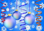 Three blue christmas-balls on snow background — Stockvector