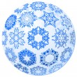 Stock Vector: Transparent christmas-ball with snowflakes