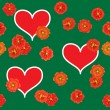 Background with red hearts and orange flowers — Stock Vector