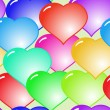 Background with glass multicolor hearts — Stock Vector