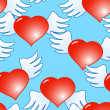 Royalty-Free Stock Vector Image: Background of red hearts with wings