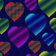 Background with halftone multicolor hearts — Image vectorielle