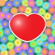 Background with red hearts and flowers — Stock Vector #4548850