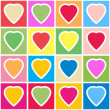 Background with multicolor hearts on grid — Stock Vector