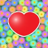 Background with red hearts and flowers — Stock Vector