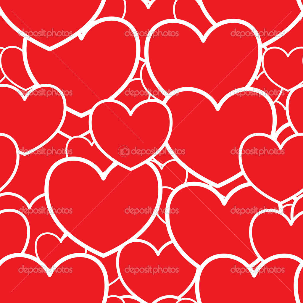 Valentine's day abstract red background with hearts. Seamless pattern. Vector illustration. — Stock Vector #4547867