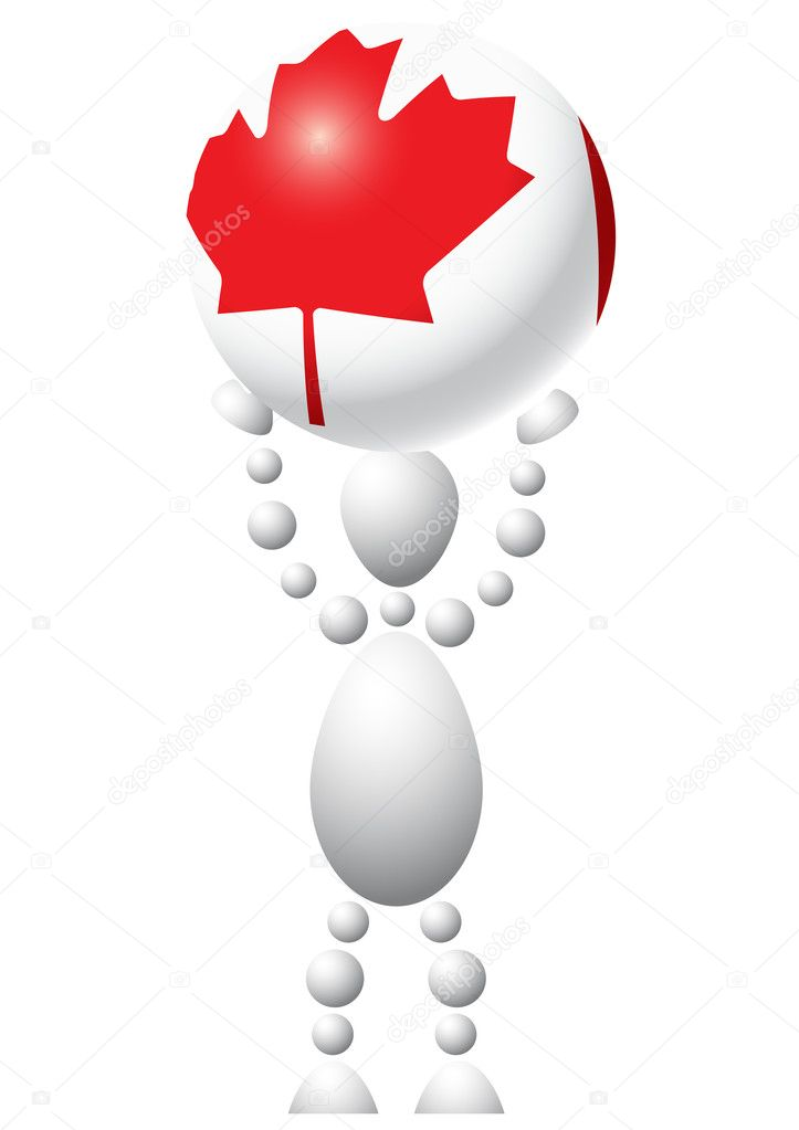 Man with ball as Canada flag. Abstract 3d-human series from balls. Variant of white isolated on white background. A fully editable vector illustration for your  — Stock Vector #4551757