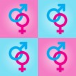 Background with male and female symbols - Image vectorielle