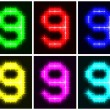 Stock Vector: Set glowing symbol of number 9