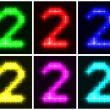 Set a glowing symbol of the number 2 — Stock Vector