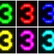 Stock Vector: Set glowing symbol of number 3