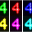 Set a glowing symbol of the number 4 — Stock Vector