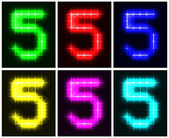 Set a glowing symbol of the number 5 — Stock Vector