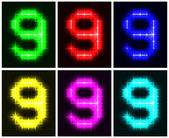 Set a glowing symbol of the number 9 — Stock Vector