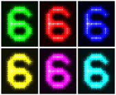 Set a glowing symbol of the number 6 — Stock Vector