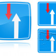 Variants advantage over oncoming traffic road sign — Imagens vectoriais em stock