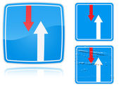 Variants advantage over oncoming traffic road sign — Vector de stock