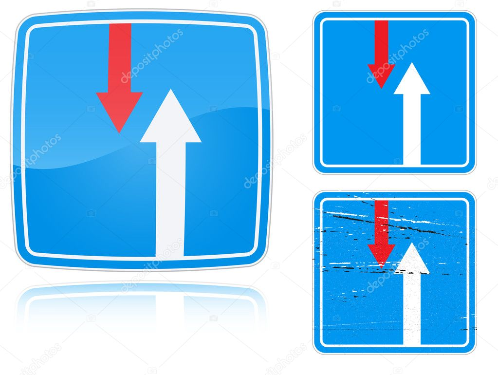 Set of variants advantage over oncoming traffic road sign isolated on white background. Group of as fish-eye, simple and grunge icons for your design. Vector il  Stock Vector #4891852