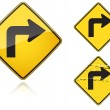 Set of variants Right Sharp turn traffic road sign — Stok Vektör