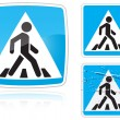 图库矢量图片: Set of variants Crosswalk road sign