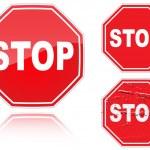 设置的变形停止道路标志 — 图库矢量图片
