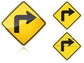 Değişik keskin dönüş trafik yol işaretleri doğru bir dizi — Stok Vektör