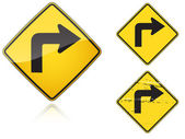Set of variants Right Sharp turn traffic road sign — Vettoriale Stock