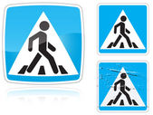 Set of variants a Crosswalk road sign — Stok Vektör