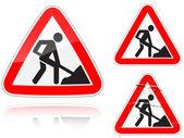 Variantes a des travaux sur la route - signalisation routière — Vecteur