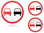 Set of variants a No passing - road sign — Stock Vector