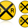 Stock Vector: Variants a Level crossing warning - road sign
