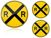 Variants a Level crossing warning - road sign — Stock Vector