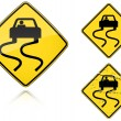 Stock Vector: Variants Slippery when wet - road sign
