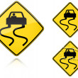 Stock Vector: Variants a Slippery when wet - road sign