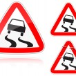 Variants a Slippery road - road sign — Stock Vector