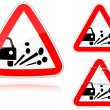Royalty-Free Stock Vector Image: Variants a Blowout of gravel - road sign