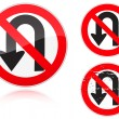Stock Vector: U-Turn forbidden - road sign