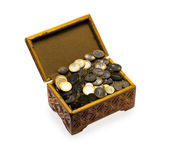 Coins in a casket — Stock Photo