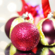 Three red Christmas balls - Stok fotoğraf