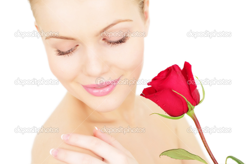 Beautiful girl with a red rose on white background — Stock Photo #4193290